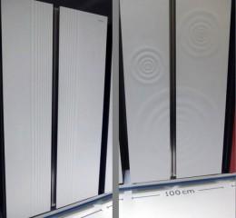 左:ストライプデザイン。右:波紋デザイン。