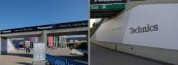 左:陸橋とその奥にパナソニックの巨大な広告。右:テクニクスのハイセンスな広告も。