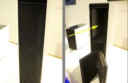 左:フィルター取り出し口。通常はネットが張られている。右:矢印部分にはイオン発生器を内蔵。フィルターはVの字型にセットされる。