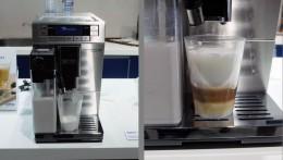 左:淹れはじめから細かな泡立ちのフォーム・ミルク。右:エスプレッソの収まり具合も絶妙。