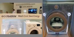 左:キャッチコピー。右:ECO-BUBBLEのイメージモデル。洗剤と水、そして空気を混ぜて泡をつくる。