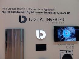デジタルインバーターが冷蔵庫、洗濯機などにも使われていることをアピール。