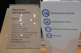 左:サムスンの照明コントロールシステム「GB9000」のスペック。右:主な特徴。3番目に『ブリッジ無しでダイレクトコントロール』とある。