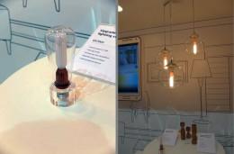 左:日本では見かけない多様性を訴求したLED電球。右:使用例。ガラスのペンダント照明が活きてくる。