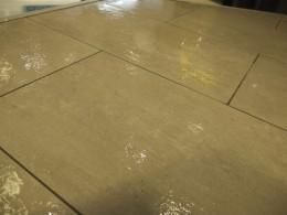 スクーバで掃除途中の床。心配になるほどビチョビチョ。