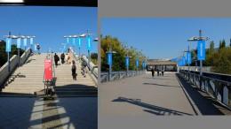 左:プラットホームの階段。右:会場への道。サムスンの旗が立ち並ぶ。