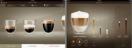 左:飲み方の種類の選択画面。右:スライダーバーで直感的に各比率等の調整が可能。