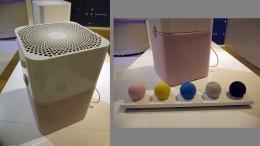 左:天面の空気孔もきちんとデザイン。手抜かりはない。右:ファブリックは、「ピンク」「イエロー」「ブルー」「グリーン」「ブラック」の5色から選べる。