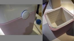 左:操作に使用するスイッチ。右:下半分は丸ごとフィルター。ここの部分は使い捨て。